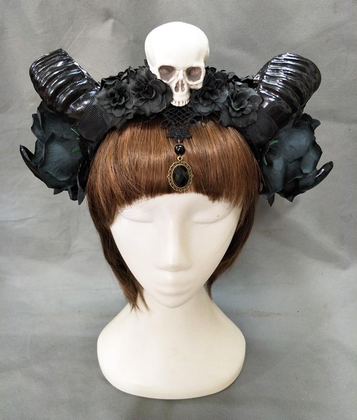 Girl Halloween Stereo Devil Horns Skull Headband Gothic Sheep Horn Flowers Headdress Hairband Cosplay Headwear Accessories