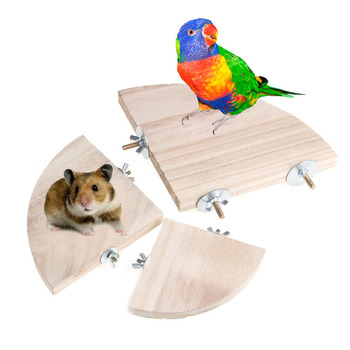 New Pet Parrot Wood Platform Stand Rack Toy Hamster Station Board Branch Perches For Bird Cage