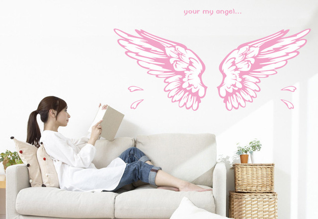 free shipping removable pvc wall sticker 50*70 cm angel wings pink ...