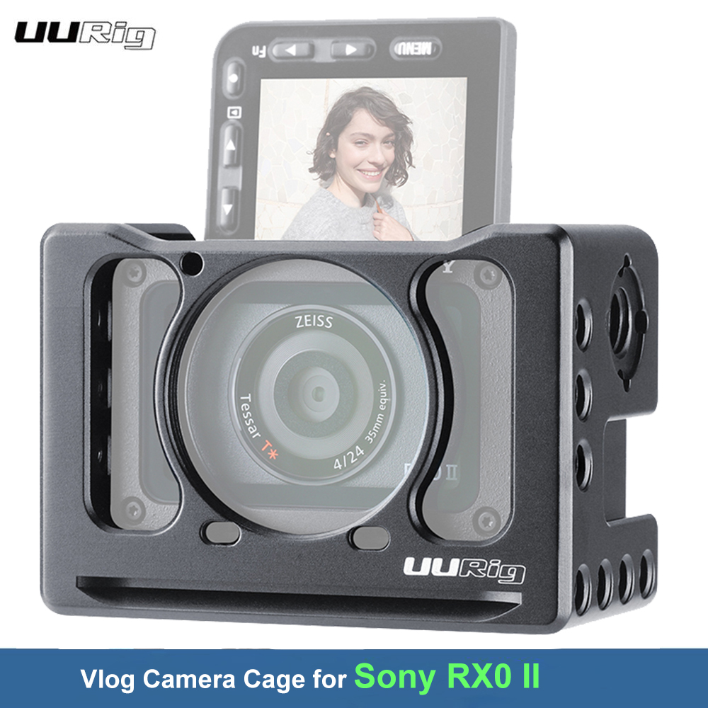 UURig Camera Cage for Sony RX0 II VlogMetal Camera Protective Holder With Cold Shoe 1/4 3/8 for Microphone LED Light VS Smallrig