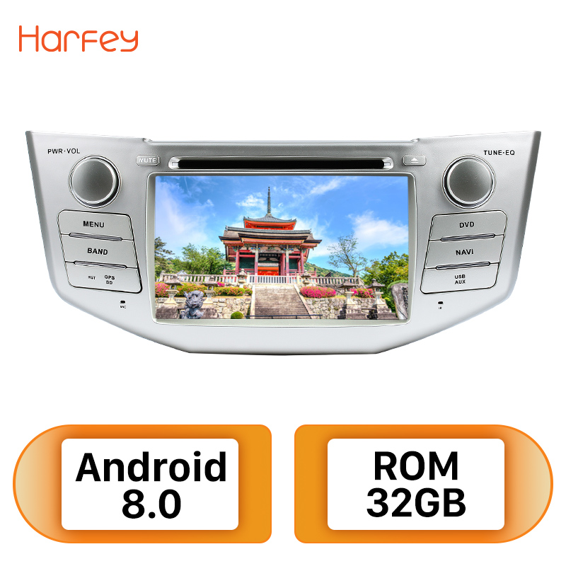 Harfey 2Din Android 8.0 7 Car Radio For Lexus RX 400h RX 330 RX 350 RX 300 Toyota Harrier GPS Multimedia Player Head Unit