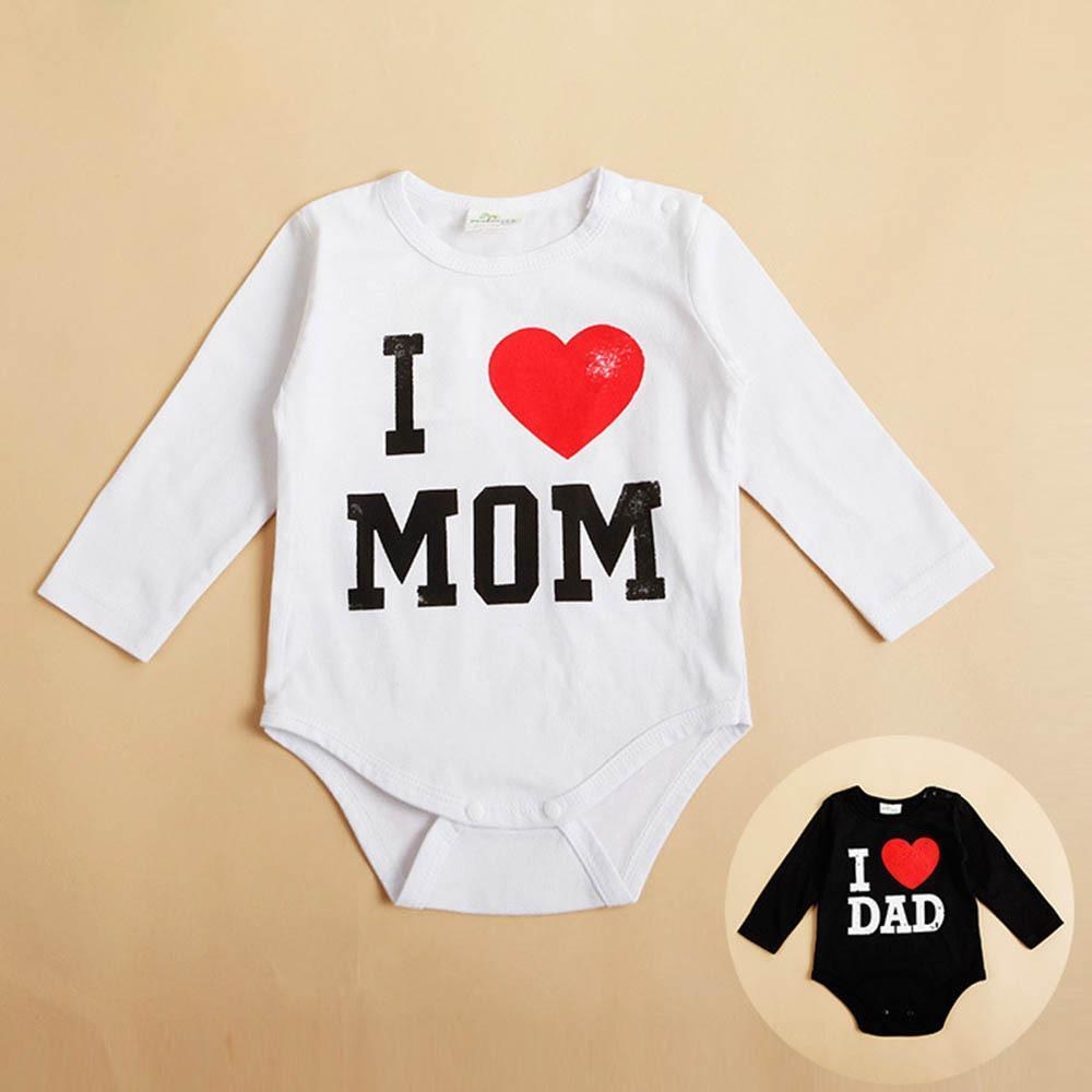 I Love MOM/DAD Print Infant Toddler Baby Girl Boy   Romper   Jumpsuit Clothes Shirt