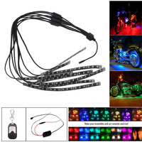 High Quality 8PCS RGB LED Car Motorcycle Chopper Frame Glow Lights Flexible Neon Strips Kit