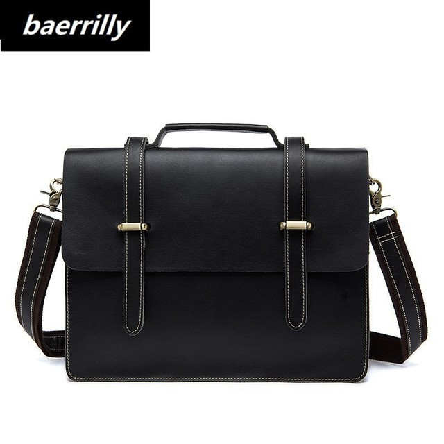 Men Genuine Cowhide Leather Vintage Briefcase Messenger Shoulder Bag Fashion Laptop Case Attache Portfolio