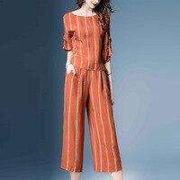Striped Blouse & Wide Leg Pants Set 2018 Summer fashion Orange Women Sets Vacation Two Piece Set