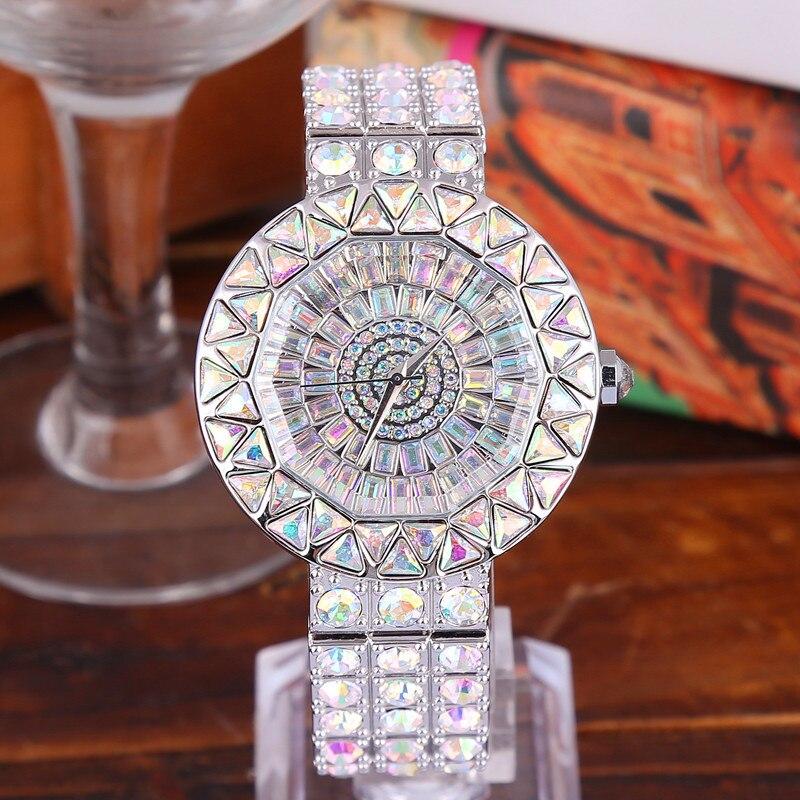 2018 montre à Quartz étanche femmes marque de luxe argent dames tenue décontractée pleine horloge diamant femmes filles tendance