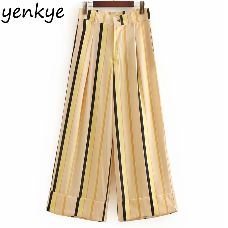 European Style Women Striped   Wide     Leg     Pants   Lady Turned Up Hem Ankle Length   Pants   High Waist Casual Loose Trousers summer