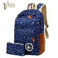 Fashion Women Backpack For Teenage Girls School Bags Rucksack Back Pack Canvas Cute Stars Printing Backpack Set For Children