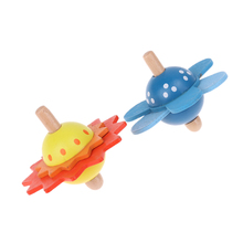 Kids Wooden Toys Flower Rotate Spinning Top Wooden Classic Toys For Chidren Kids Develop Intelligence Educational