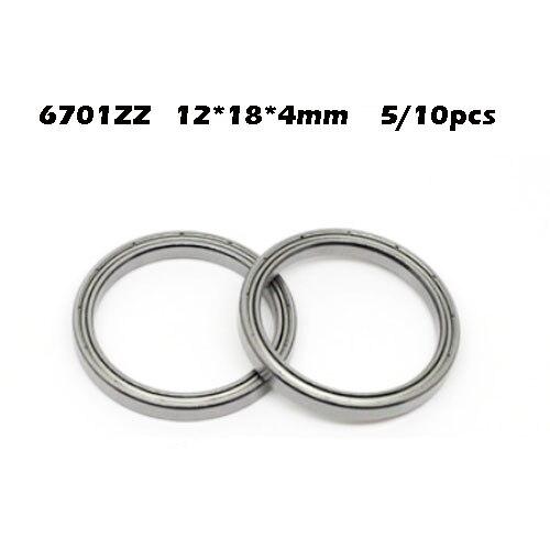 5/10pcs 6701ZZ Bearing ABEC-1 12x18x4 Mm Thin Wall Section 6701 ZZ Ball Bearings 61701ZZ 6701Z