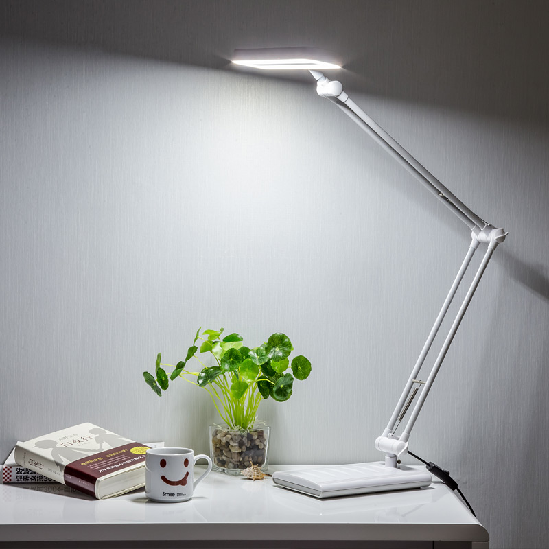 8 watt two color long swing arm desk lamp flexible led reading lamp us style high brightness. Black Bedroom Furniture Sets. Home Design Ideas