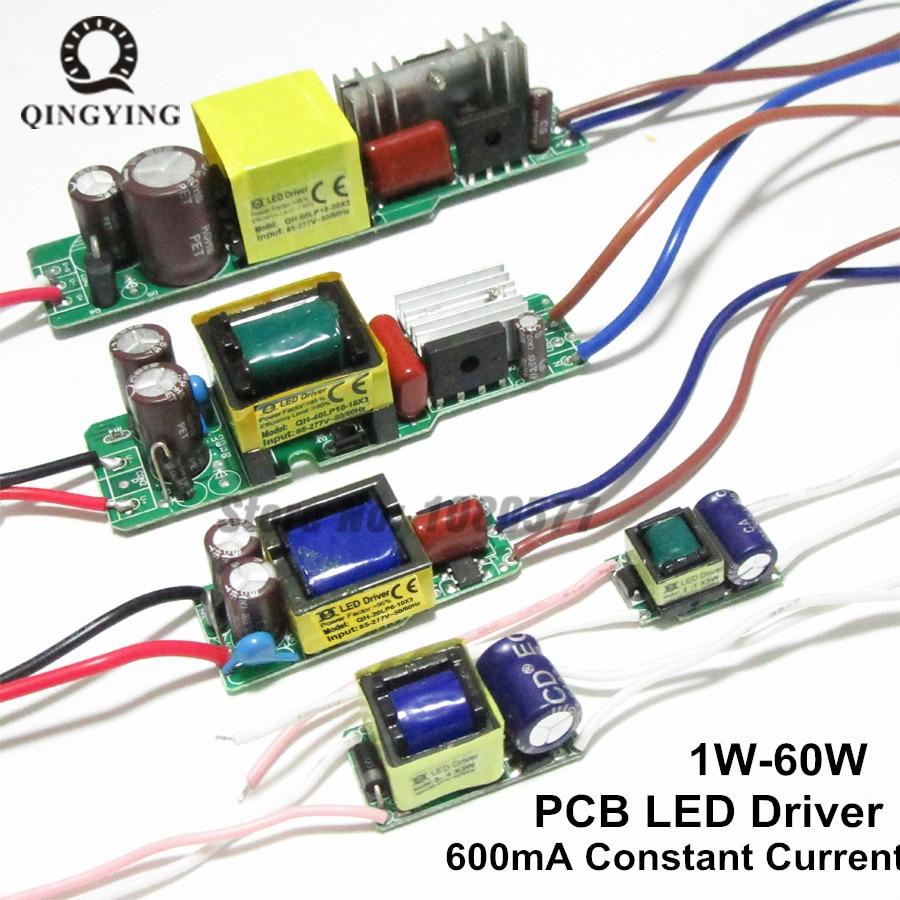 600mA Led ドライバ 3 ワット 10 ワット 18 ワット 20 ワット 30 ワット 36 ワット 40 ワット 50 ワット 60 ワットランプ照明トランスフォーマー 1 ワット-60 ワットワット屋外照明電源