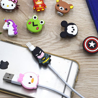 100pcs Cartoon Cute Silicone USB Cable Protector Data Line Cord Protection Case Cable Winder Cover For iPhone iPad