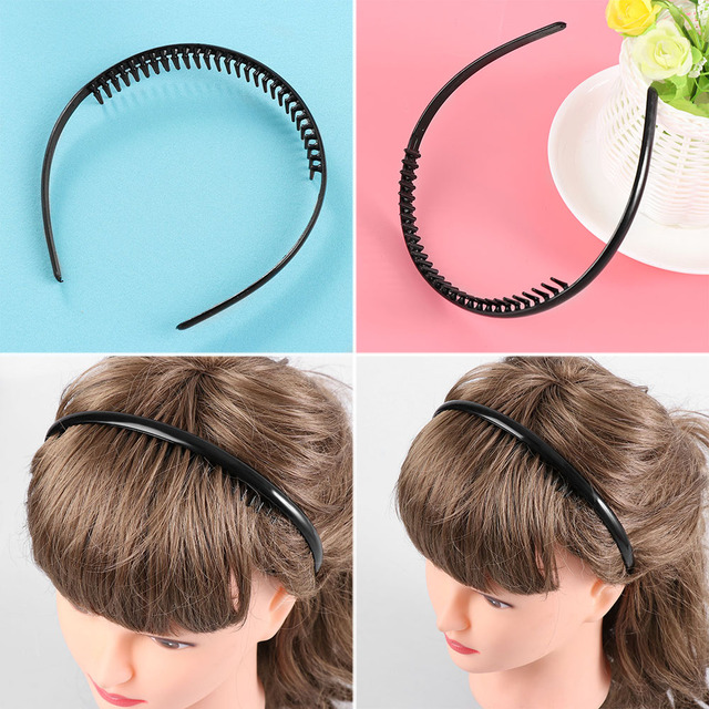 1 2 Pcs Mens Black Metal Toothed Sports Football Soccer Hair Clip Headband Alice  Hair 50850c52a24