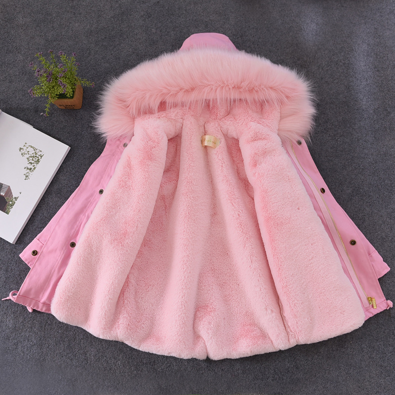 Boys Girls Fur Coats Parkas Children Big Faux Rex Rabbit Fur Coat Kids Winter Jacket Fur Collar Hooded Outerwear TZ278
