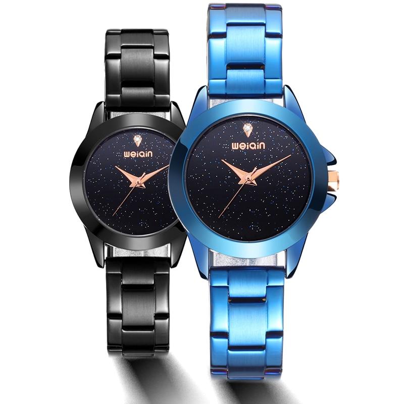 все цены на Hot Sale black Watch Women Watches Full Steel Women's Watches Ladies Wrist Watch Clock saat relogio feminino bayan kol saati