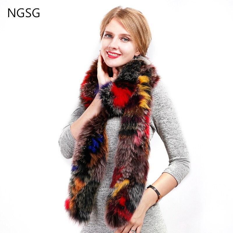 Real fur fox scarves 200 cm 100 cm luxury Korean fashion neck warmer colorful fox scarf