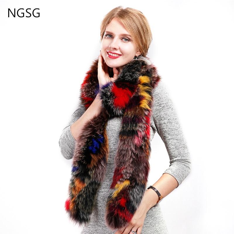 Valódi szőrme róka sálak 200 cm / 100 cm luxus koreai divat nyak - Ruházati kiegészítők