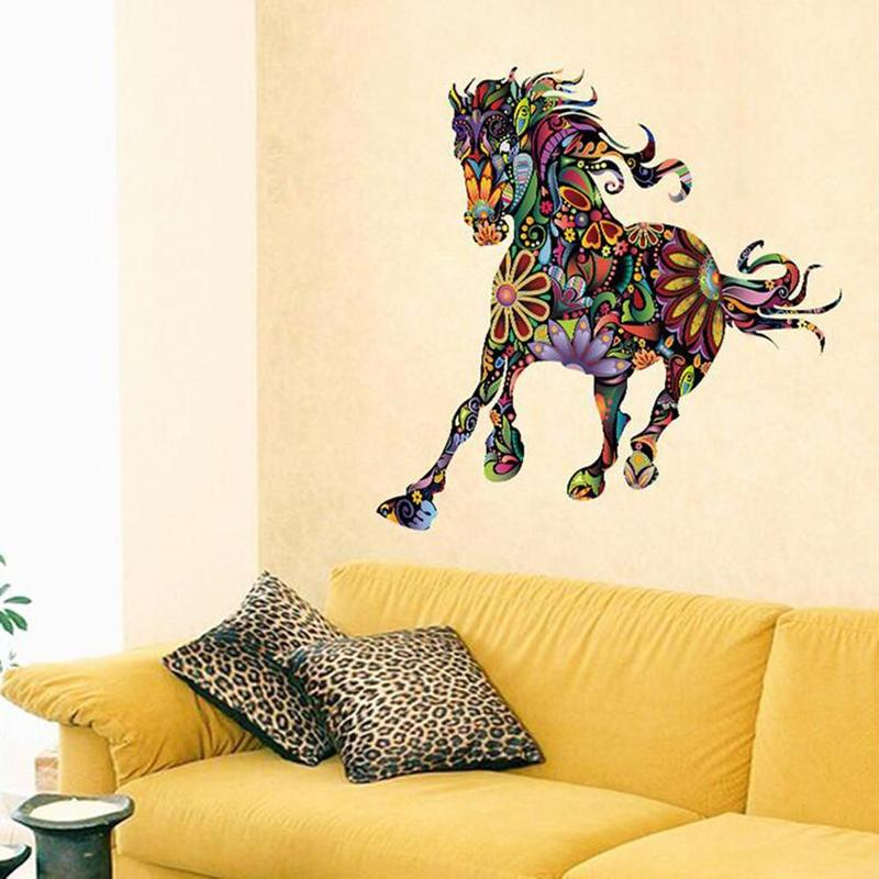 Colorful Flower Pattern Pentium Horse Wall Stickers Decorative ...