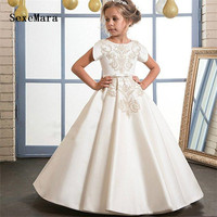Gold Embroidery Ivory Satin Flower Girl Dresses For Wedding O Neckline Kids First Communion Dress Girls Pageant Gown Custom Made