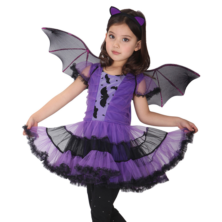 Fancy Masquerade Party Bat Cosplay Dress Witch Clothing Halloween Costume for Girls with Wings Girl Kids