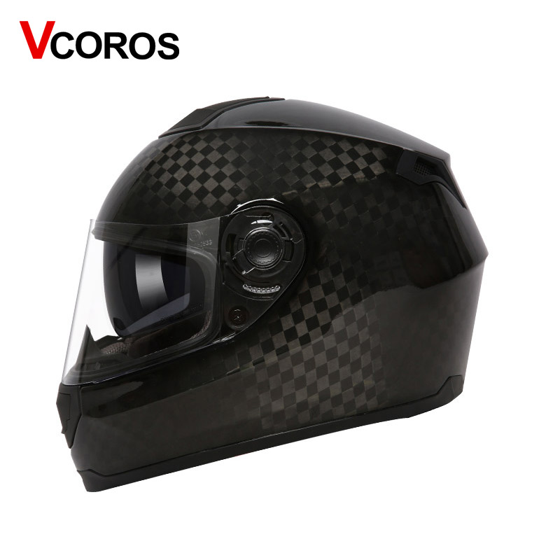 Carbon Fiber Motorcycle Helmets >> Carbon Fiber Full Face Motorcycle Helmet Double Lens Man Motorbike Helmets With Inner Shied Black Glass Racing Moto Helmet Ece In Helmets From