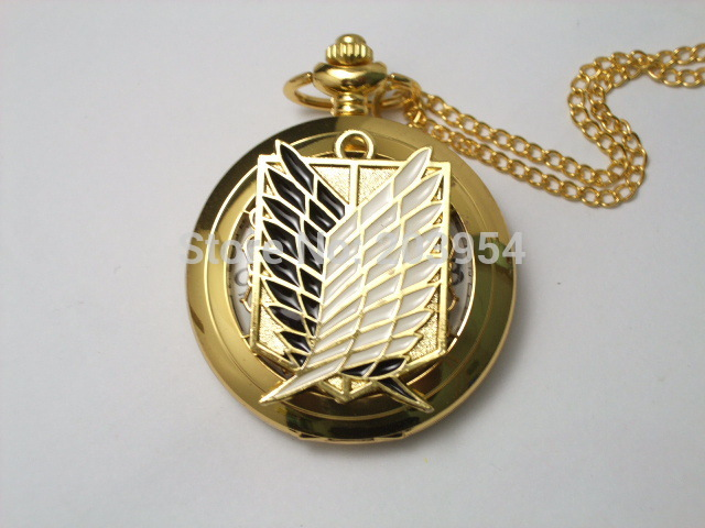 Attack on Titan 1pcs/lot Pocket Watch Cosplay Scout Regiment Anime Scouting Legion Survey Corps handmade golden case steampunk