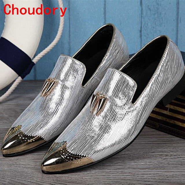 Choudory 2017 Italian Shoes Men Leather Spiked Heels Wedding Dress Shoes  Gold Silver Mens Luxury Loafers 67de9b9e758a