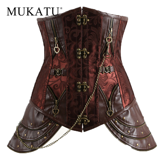 Brown Steel Bone Underbust   Corset   Steampunk   Corset     Bustier   Top Sexy Women Gothic   Corset   Dress Vintage Royal   Bustiers   and   Corsets