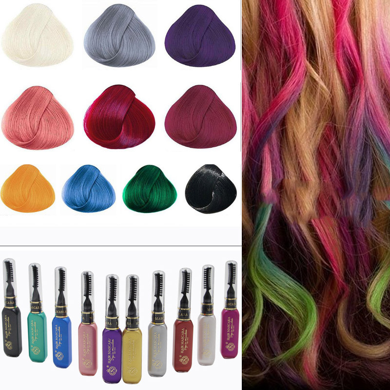 10 Color Cosplay Fashion One Time Hair Color Hair Dye Temporary Non