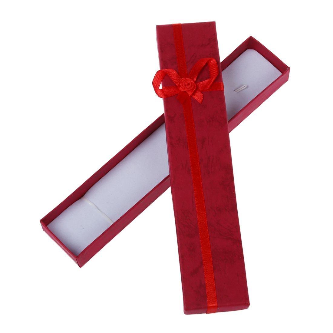Dark Red Rectangular Jewellery Necklace Case Cardboard Gift Holder Box