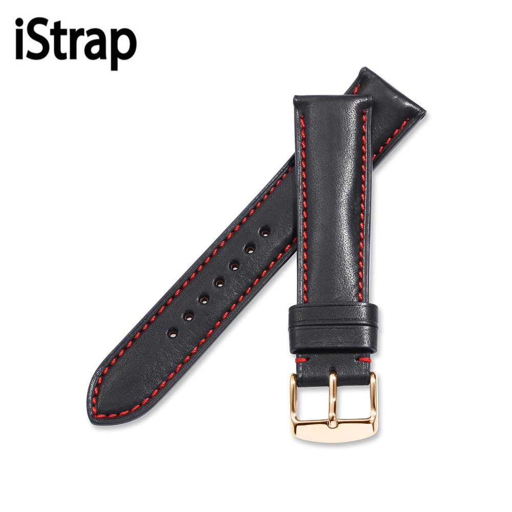 iStrap 18mm 19mm 20mm 21mm 22mm Black with red stitch Genuine leather Watchband Watch Strap for Omega Tissot Seiko watch band istrap 22mm handmade genuine calf leather padded replacement watch band for men black 22