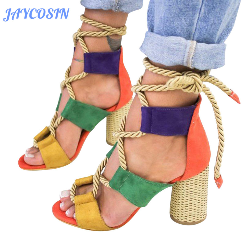 JAYCOSIN Shoes Woman High Heels Sandals Women Elegant Cross-Tied Mixed Colors Lace Up Casual Fashion Roman Sandals Female 2019JAYCOSIN Shoes Woman High Heels Sandals Women Elegant Cross-Tied Mixed Colors Lace Up Casual Fashion Roman Sandals Female 2019