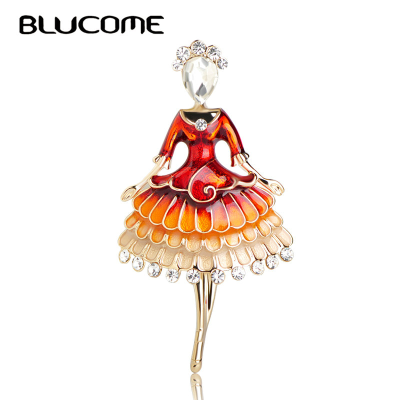 Blucome New Fashion Dress Girl Brooch Zinc Alloy Red Enamel Women Kids Suit Coat Hats Scarf Accessories Gold Color Pins Jewelry sika deer style rhinestone zinc alloy brooch golden