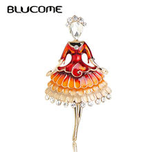 Blucome New Fashion Dress Girl Brooch Zinc Alloy Red Enamel Women Kids Suit Coat Hats Scarf Accessories Gold Color Pins Jewelry(China)