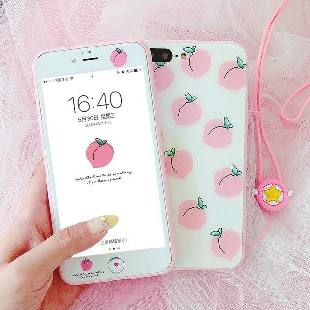 Roze liefde Voor iPhone 8 plus glas back case + front gehard glas voor iPhone X 6 6 splus Perzik case voor iphone 7 7 plus + strap