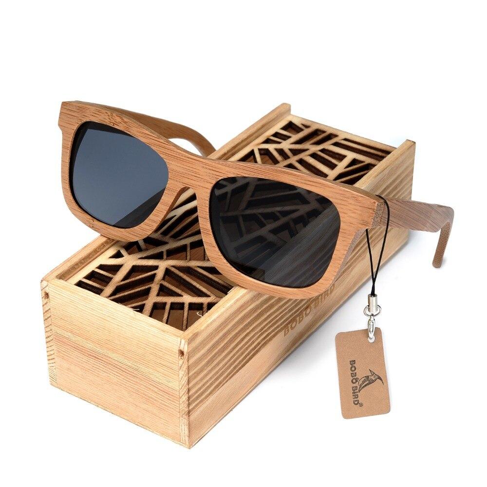 BOBO Square Men Sunglasses Polarized UV Protection Eyewear Women Bamboo Sun Glasses Lunettes Femmes Solaire