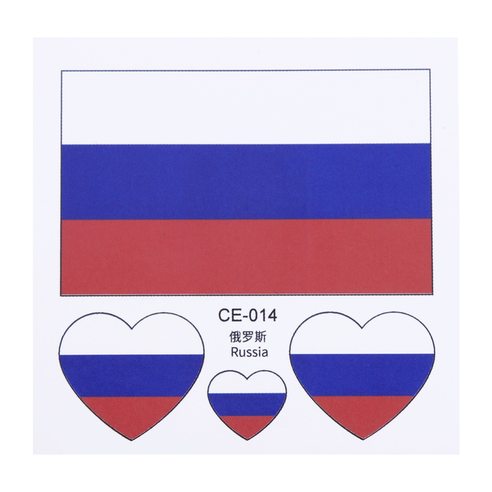 Russian Football Team National Flag Stickers For Russia Football Audiences Cheerleader Waterproof Disposable Tattoo On Body