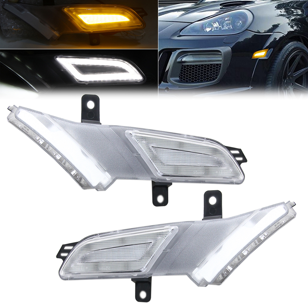 For Porsche Cayenne 07-10 Clear Lens Amber/White LED Fender Lamp LED Side indicator lamp LED side marker lamp Running light 2pcs smoke car front fender flares turn signal light indicator led side marker lamp for wrangler jk amber led light