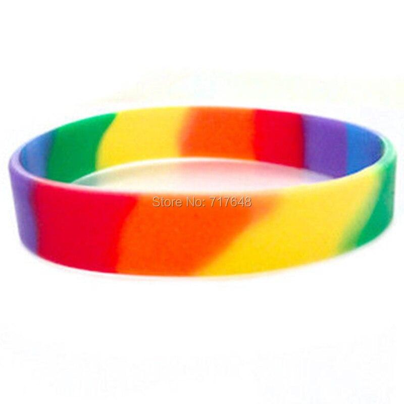 100 sztuk puste lesbijek Gay Pride opaska na nadgarstek bransoletki silikonowe darmowa wysyłka przez epacket, w Bransoletki mankietowe od Biżuteria i akcesoria na  Grupa 1