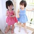 Дешевые Цены Малыша Платья Девушки Розовый и Синий, Простой Элегантный Стиль Прекрасный Корейский Детская Одежда для Маленьких Девочек, Платья выше Колена