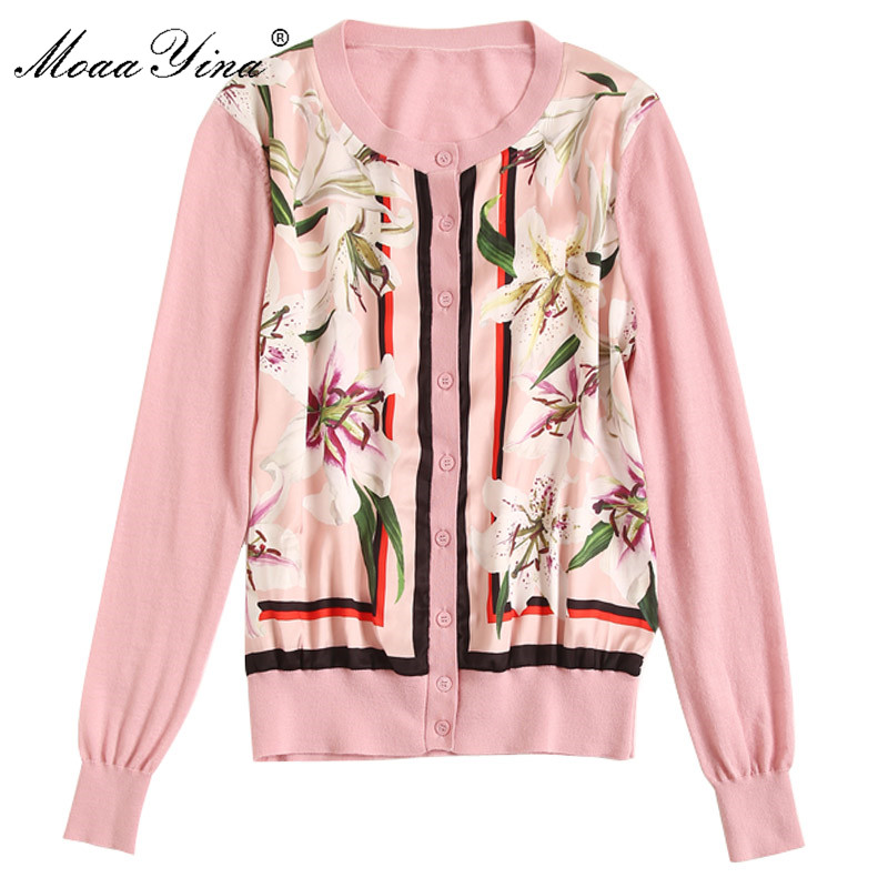 MoaaYina mode tricot pulls pull printemps femmes à manches longues lily Floral imprimer décontracté tricot chandail-in Pulls from Mode Femme et Accessoires    2