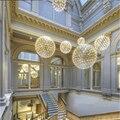 Sótão nórdico Composto Faísca Bola Lâmpada Pendurada Moderno Aço Inoxidável Levou Pingente Luzes de Iluminação Da Lâmpada Sala de estar Do Lobby Do Hotel