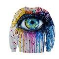 Мужчины/женская 3D графических кофты забавный печати большие глаза картина маслом новинка crewneck толстовка зима пуловер толстовки 3d