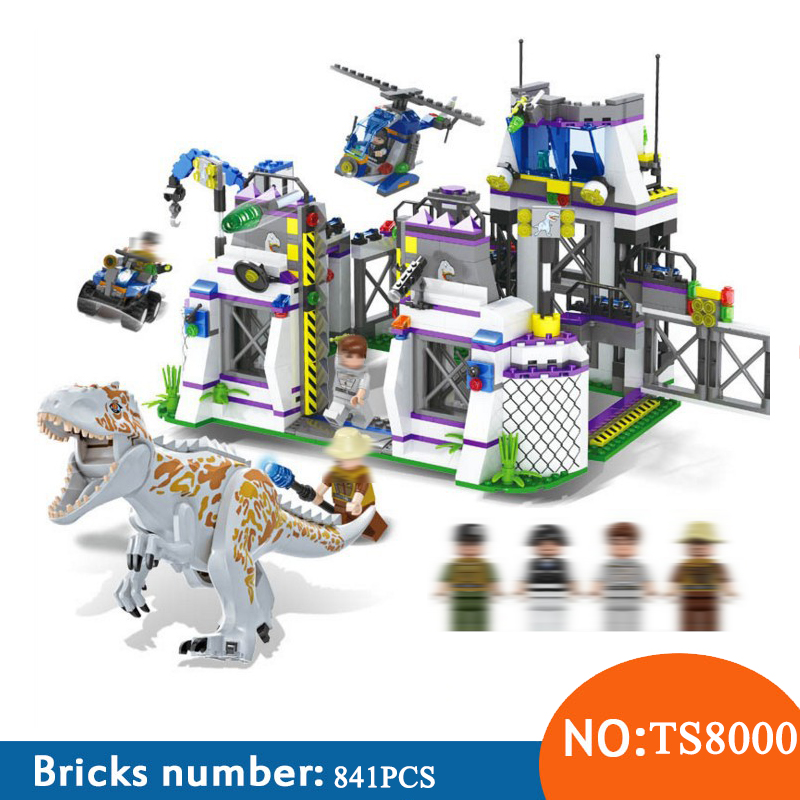 <font><b>TS8000</b></font> Compatible with jurassic world dinosaur Bricks Tyrannosaurus Base Escape figures toys for children image