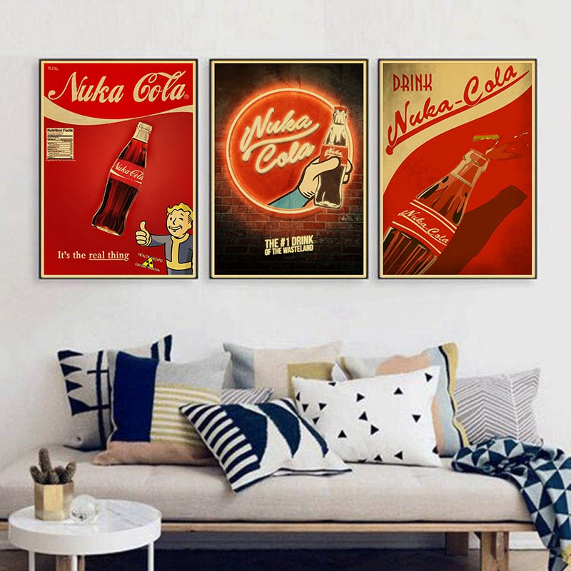 Nuka Cola Fallout 2345 Vintage Paper Poster Wall Painting Home Decoration 42X30 CM 30X21 CM