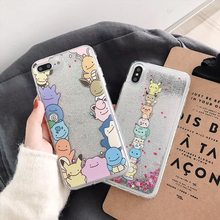 Cartoon Pocket Monsters Pokemons Pikachue phone Case For iPhone XS MAX XR 6 6s 7 8 Plus Quicksand Glitter soft back cover Fundas(China)