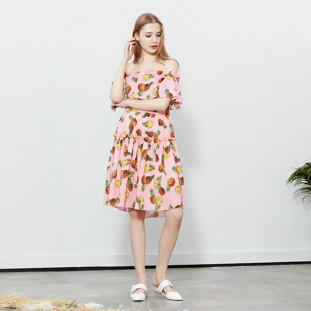 5db1aa2d1dc Customize Women Casual Plus Size Pineapple Printing Dresses Ladies Sexy Off  Shoulder White Pink Slash Neck Knee Length Dress