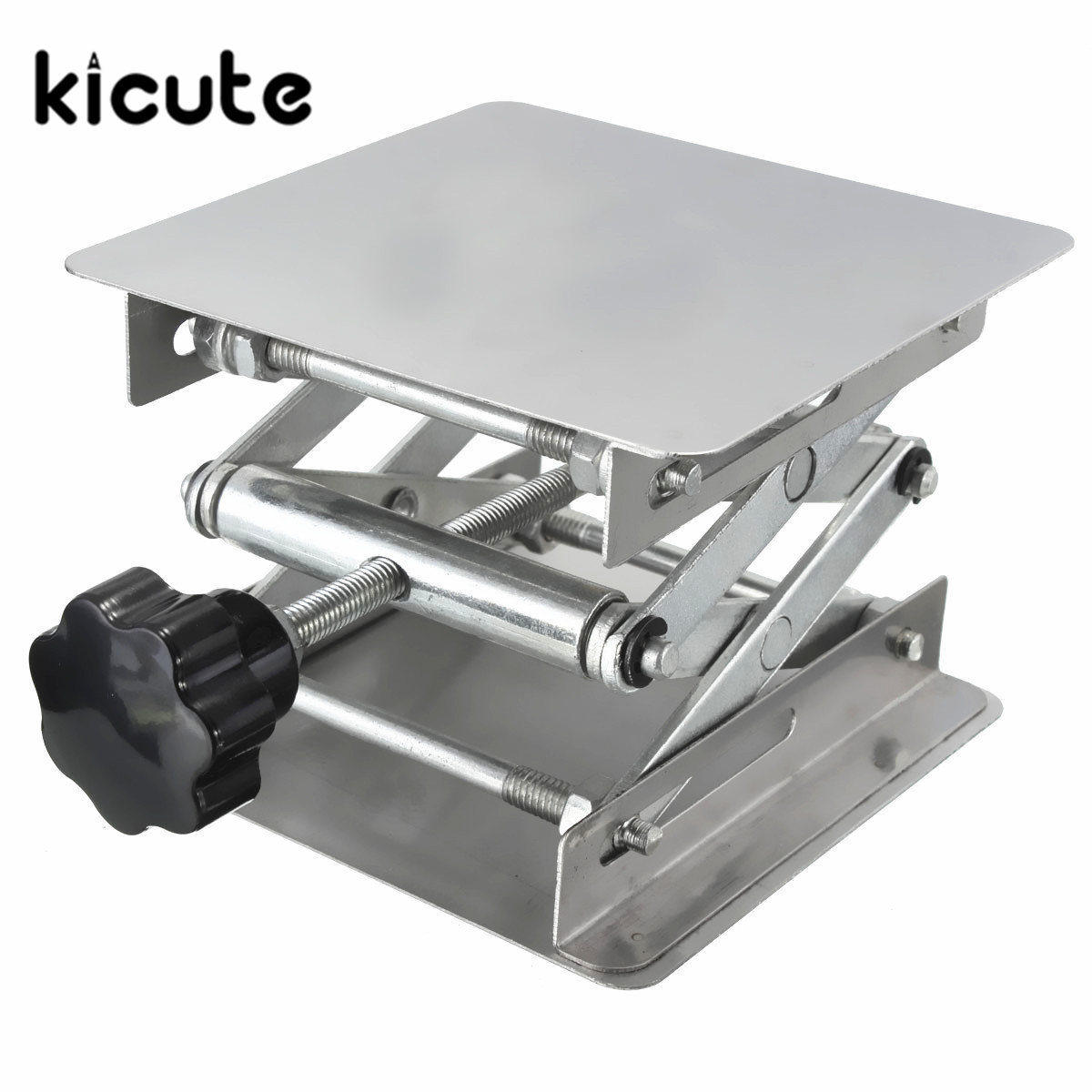 Kicute High Quality 100*100*160mm Stainless Steel Lab Jack Lifting Table Laboratory Platform Support Jack School Lab Supplie lab jack laboratory support jacks 200x200x280mm stainess steel painting lifting table raising platform 8 inch export to europe