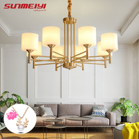 Американские Современные светодиодные люстры для гостиной столовой люстры для спальни все медные винтажные люстры ос